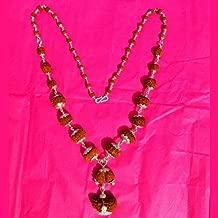 Siddha (Rudraksha) Mala in Silver - 1,2,3,4,5,6,7,8,9,10,11,12,13,14 Face (Mukhi) Rudraksha Includes Gauri-Shankar and Ganesh Rudraksha (Origin: Java, Small Beads)