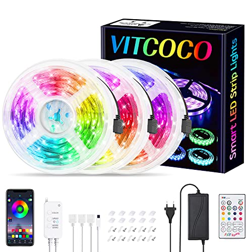 LED Streifen 15M VITCOCO Bluetooth LED Strip Kit RGB 5050SMD Farbwechsel selbstklebend LED Lichtleiste Sync mit Musik, mit 23 Tasten Fernbedienung +12V Netzteil für Haus, Party Dekoration