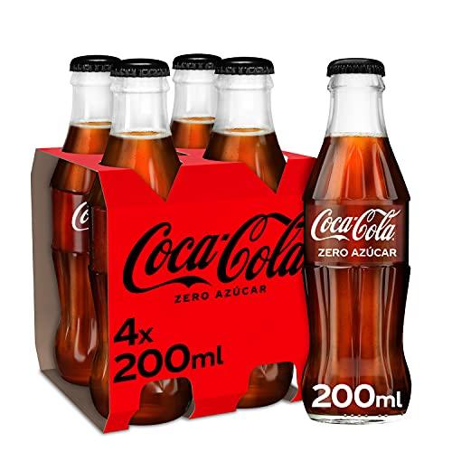 Coca-Cola Zero Azúcar - Refresco de cola sin azúcar, sin calorías - Pack 4 botellas de vidrio 200 ml