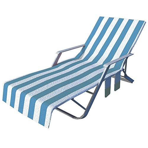 Hearthrousy Sonnenliege Handtuch Liegestuhlauflage Schönbezug für Gartenliege Handtuch für Sonnenliege Strandtuch für Liegestuhl Bezug mit Seitentasche für Feiertage Sonnenbaden, 75 x 215cm