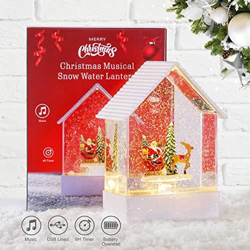 Weihnachtslaterne LED Wasserlaterne Weihnachten Spieluhr mit 6h Timer Schneelaterne Weihnachtsmann im Schlitten 3 Modus Wasserlaterne 2 Energieversorgung USB und Batteriebetrieben Innen Weihnachtsdeko