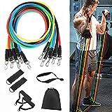 Bandas de resistencia Conjunto de 11 piezas Bandas de ejercicios para hombres y mujeres Ejercicios Yoga Fitness Equipo de gimnasio en casa, ejercicios en el hogar de ejercicios, manijas de espuma