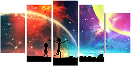 PENGDA Rick and Morty Canvas 5 Panels Modern Rainbow Painting Poster Canvas Wall Art Home Decor for Living Room