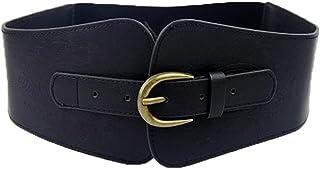 SUPER WIDE Women Ladies Vintage Faux Leather Totem Print Elastic Stretch Corset Cinch Belt (Black)