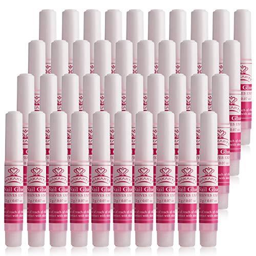 Makartt 40Pcs Nail Glues Bulk for Press on Nails Nail Repair, Strong Long Lasting Acrylic Nail Glues Adhesive Super Bond Fake Nail Glues A-19