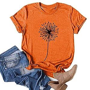 Aniywn Womens Short Sleeve Tops,Womens Loose T-Shirts Casual Printing Short Sleeves O-Neck Blouse Tops Orange