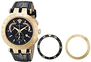 Versace Men's 23C80D008 S009 'V-Race' 18k Rose-Gold Plated Stainless Steel and Black Leather Watch image