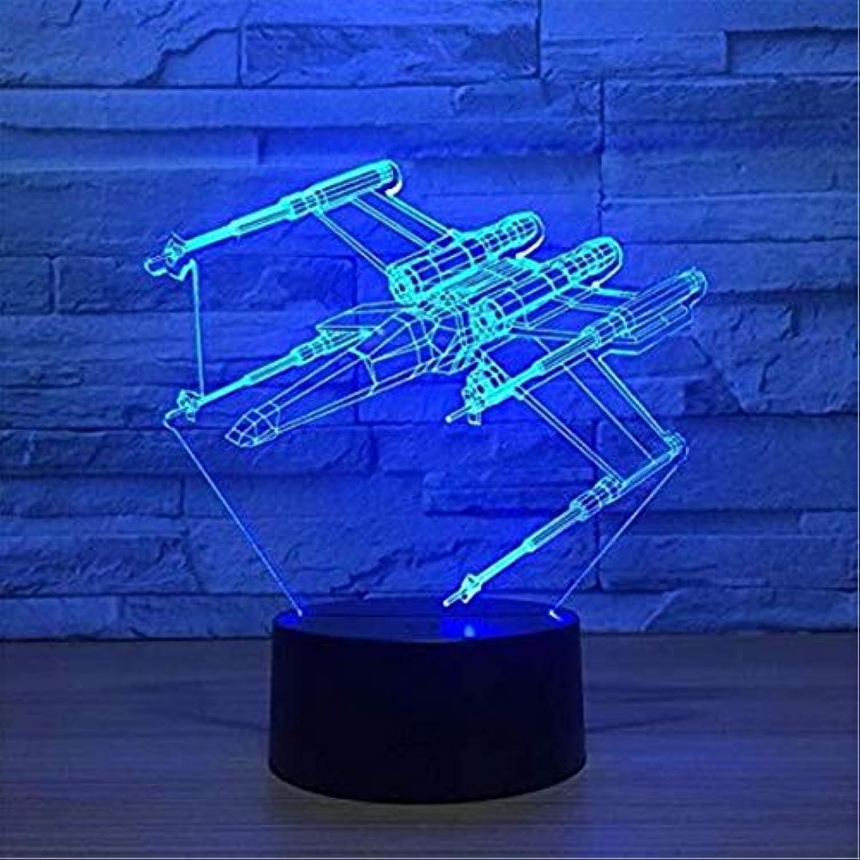 Moderne Kronleuchter Scheinwerfer 3D Illusion Lampe 7 Farbe Flugzeug Led 3D Nachtlichter Star Wars Touch Usb Tisch Lampara