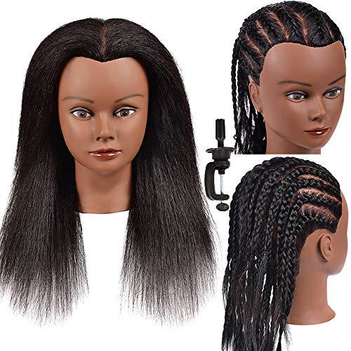 100% Real Hair Mannequin Head Hairdresser Training Head Manikin Cosmetology Doll Head Yaki Hair Mannequin Head Hair Styling Training Head Afro Mannequin Head for Braiding Practice Mannequin Head