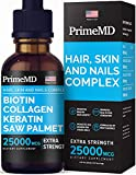 4-in-1 Liquid Biotin Collagen Keratin Saw Palmetto 25000mcg Drops Hair Skin and Nails Vitamins with Biotin and Collagen Supplement 60ml Biotin Collagen Liquid Drops for Hair Growth 2 fl oz (Pack of 1)