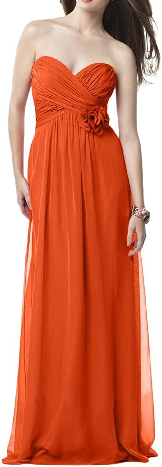 Avril Dress Sweetheart Empire Flower Ruched Evening Prom Dress Long for Women