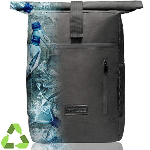 invilus ® - Rolltop Rucksack Damen und Herren Schwarz aus Recycelten Plastikflaschen | Uni Rucksack | Rucksack mit Laptopfach | Laptop Rucksack | Rollrucksack | Schulrucksack Jungen