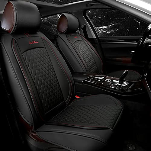 GIANT PANDA Luxury Front Car Seat Covers Waterproof Faux Leather Seat Cover Cushions with Logo Fit Most Cars SUV (Front Pair - Solid Black)
