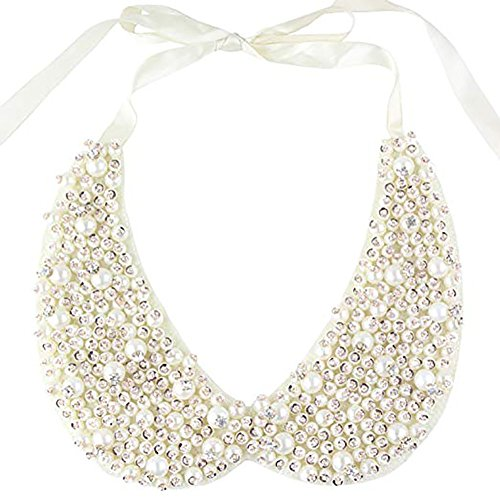 LANGUGU Stylish Detachable Faux Pearls Sequins Rhinestones False Collar Choker Peter Pan Necklace