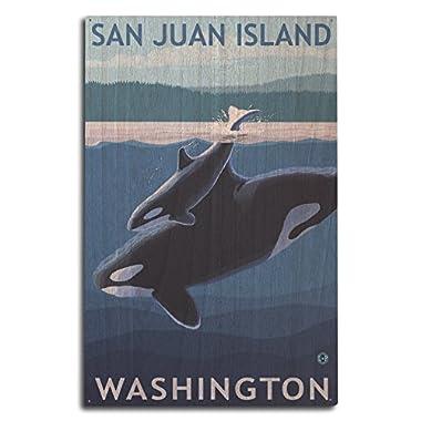 San Juan Island, Washington - Orca and Calf (10x15 Wood Wall Sign, Wall Decor Ready to Hang)