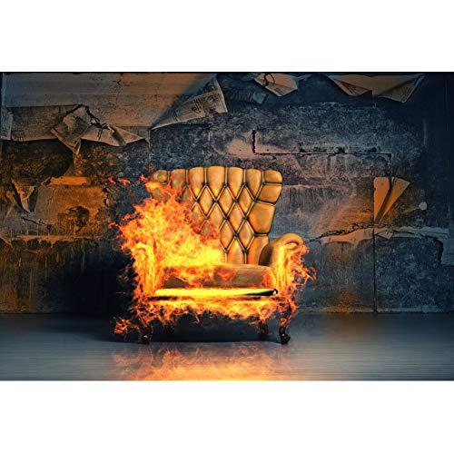 YongFoto 1,5x1m Vinyl Foto Hintergrund Indoor brennender Stuhl Grunge geschälte Tapete Fotografie Leinwand Hintergrund Partydekoration Fotostudio Hintergründe Fotoshooting