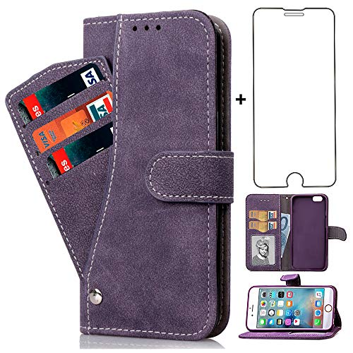 Compatible with iPhone 6plus 6splus 6/6s Plus Wallet Case and Tempered Glass Screen Protector Flip Purse Cover Card Holder Cell Phone Cases for iPhone6 6+ iPhone6s 6s+ i 6P 6a Six iPhone6splus Purple