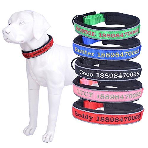 Amakunft Reflektierende Langlebig Hundehalsband anpassen, mit Namen, Namen Bestickt Telefonnummer Pet Halsband, Persönlichen ID Halsband für Hunde