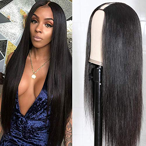 U Part Wigs Human Hair Wigs For Black Women Brazilian Straight Human Hair Wigs None Lace Front Wigs Glueless Natural Color U-part Wigs Hair Extension Clip(16inch,U-Part wig)