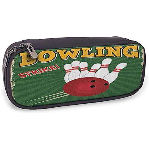 Federmäppchen Vintage Bowlingkugeln und Stifte Design Western Sport Hobby Freizeit Gewinner Artsy Art