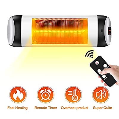 TRUSTECH Infrared Patio Heater, Wall Heater with 500W/1000W/1500W, Remote Control&Timer, Indoor/Outdoor Heater with Overheat Shut Off Protection, Quiet Operation for Patio Use, Backyard,Garage,Wall Mount