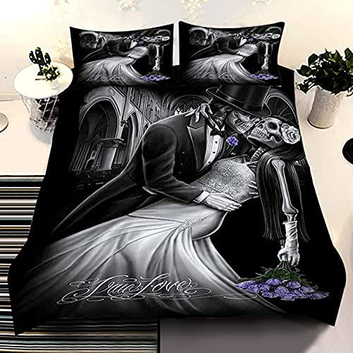 Skull Duvet Cover Set King Wedding Bride Groom Couple Skull Bedding...