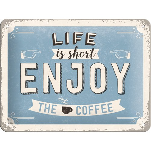 Nostalgic-Art 26190, 15x20 cm Blechschild-Word Up-Enjoy The Coffee, Vintage Geschenk-Idee für Retro-Fans, zur Dekoration, 15 x 20 cm, Metall, bunt, 15 x 20 x 0,2 cm