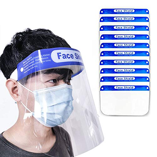 Hiapix Transparent Safety Face Shield, Anti-Saliva Double-Sided Anti-fog Dust-proof Windproof Full Face Cover, Reusable Protective Shield Cover Visor for Adults Kids(10PCS)