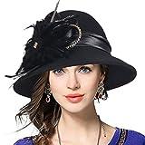 VECRY Women's Wool Church Dress Cloche Hat Plumy Felt Bucket Winter Hat (Black)