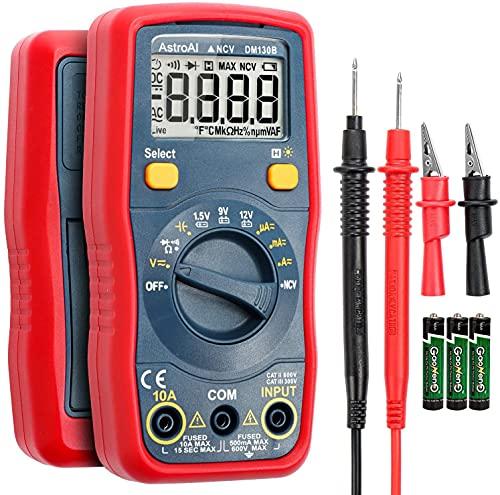 AstroAI Automatisch TRMS 4000 Counts Digital Multimeter mit Berührungsloser Spannungsfunktion(NCV) LCD-Anzeige/DMM/Ohmmeter/Voltmeter 1,5 V / 9 V / 12 V Batteriespannungstester