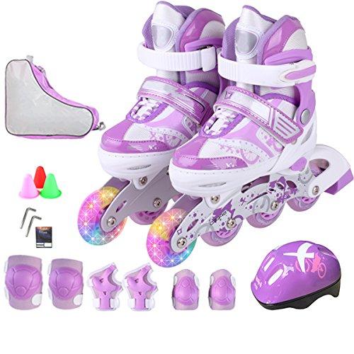 ZCRFY Kinder Inliner Skates Für Mädchen Jungen Verstellbar Rollschuhe Kleinkinder Inline Skates LED Rad Schutzausrüstung Helm Set,Purple-S