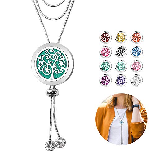 Aromatherapy Essential Oil Diffuser Necklace - ttstar 316L Stainless Steel Sliding Clasp Ring Adjustable Aromatherapy Locket Pendant Diffusing Necklaces Gifts for Mother Daughter Girlfriend