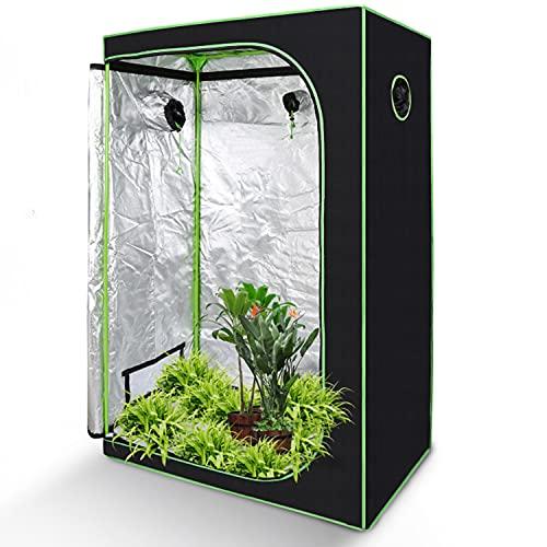 Faziango Grow Zelt, 600D Oxford Grow Tent, 120x60x180cm Growbox, Growschrank für Homegrow, Indoor Anbauzelt, Growroom, Lichtdicht und Wasserdicht Pflanzzelt, Zuchtzelt (Schwarz Grün)