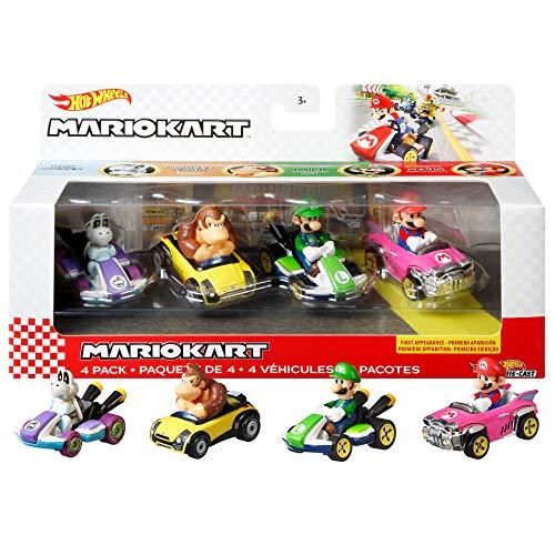 Hot Wheels Mario Kart coffret 4 mini-véhicules Skelerex, Donkey Kong, Luigi et Mario échelle 1:64, inspiré par les voitures du jeu, jouet pour enfant, GWB37