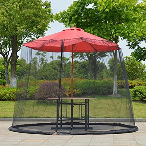 Paraguas de jardín al aire libre ultra grande mosquitero, cubierta de mosquitero de mesa, cubierta de malla de plagas para camping, picnic, viajes (negro)