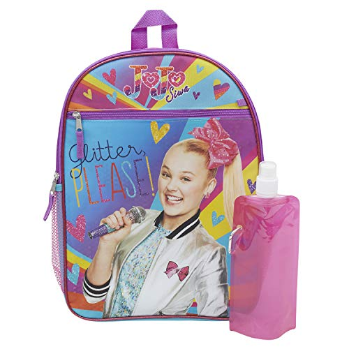 Jojo Siwa Backpack Combo Set - Jojo Siwa 3 Piece Backpack Set - Backpack, Waterbottle & Carabina (Jojo)