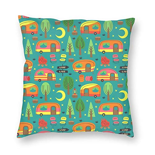 antkondnm Camping Trailer Throw Pillow Covers - Cushion Case for Home Decor Room Bedroom Sofa Chair Car - 18 x 18 Inches