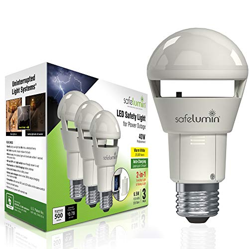 safelumin Rechargeable Light Bulbs 2700K 3PK Warm White - Emergency Lights for Home Power Failure - Works as Normal Light Bulbs & 3Hrs Battery Backup, UL AC120V E26, 40W Equivalent 500lm