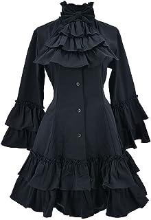نايت خزانة فساتين القوطية للنساء بأكمام طويلة متعددة الطبقات كلاسيكية لوليتا سوداء عتيقة