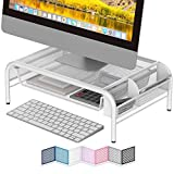 NEATERIZE Monitor Stand for Desk - Metal Monitor Stand Riser and Laptop Desk Stand with Organizer - Desktop Computer Stand and Monitor Riser Stand for Desk with Drawer - Improves Airflow - (White)
