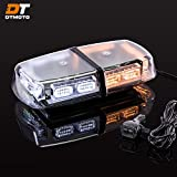 12' 36W Amber White LED Emergency Warning Mini Light Bar - Waterproof Magnetic Roof Top Mount Strobe Flashing Lights for Trucks Golf Cart Tractors Vehicles Cars Forklift