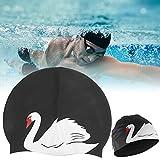 Eosnow Gorro de natación para Adultos, elástico, Suave, tamaño Ajustable, magnífico Gorro de Buceo de Silicona, práctico para Nadar(Black)