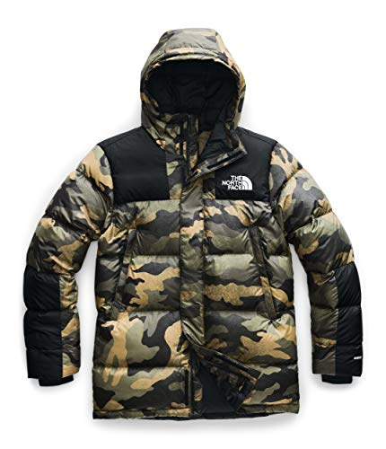 The North Face Deptford Down Jacket Burnt Olive Green Waxed Camo Print MD