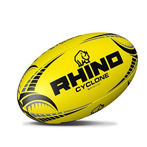Rhino Cyclone - Pallone da rugby, colore giallo fluo, misura 3