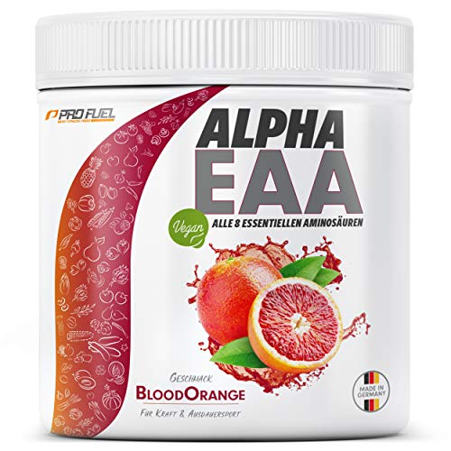 ALPHA EAA Pulver | Enthält 8 essentielle Aminosäuren | Vegan EAAs Aminosäuren Pulver | Amino Workout Drink | MADE IN GERMANY | Optimale Wertigkeit | Leckerer Geschmack (Blood Orange)