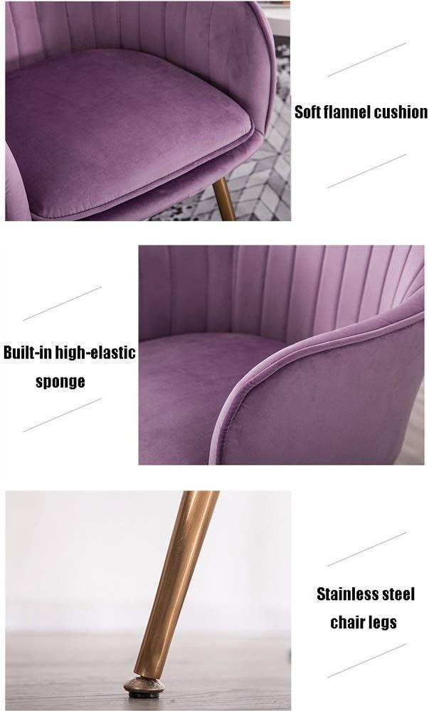 Chaise de salle, Chaise longue maison Chaise d'appoint coussin de velours Chaise de réception Chambre Chaise Chaise moderne (Color : Purple gold chair legs) Grey Black Chair Legs