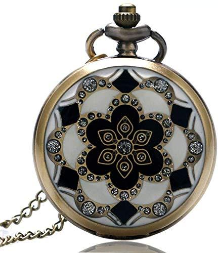 QTWW Reloj de Bolsillo de Cristal de Jade Blanco, Gran Reloj de Bolsillo, Collar, Cadena Colgante, Hombre, Mujer, Steampunk, Regalo Antiguo, Retro Punk