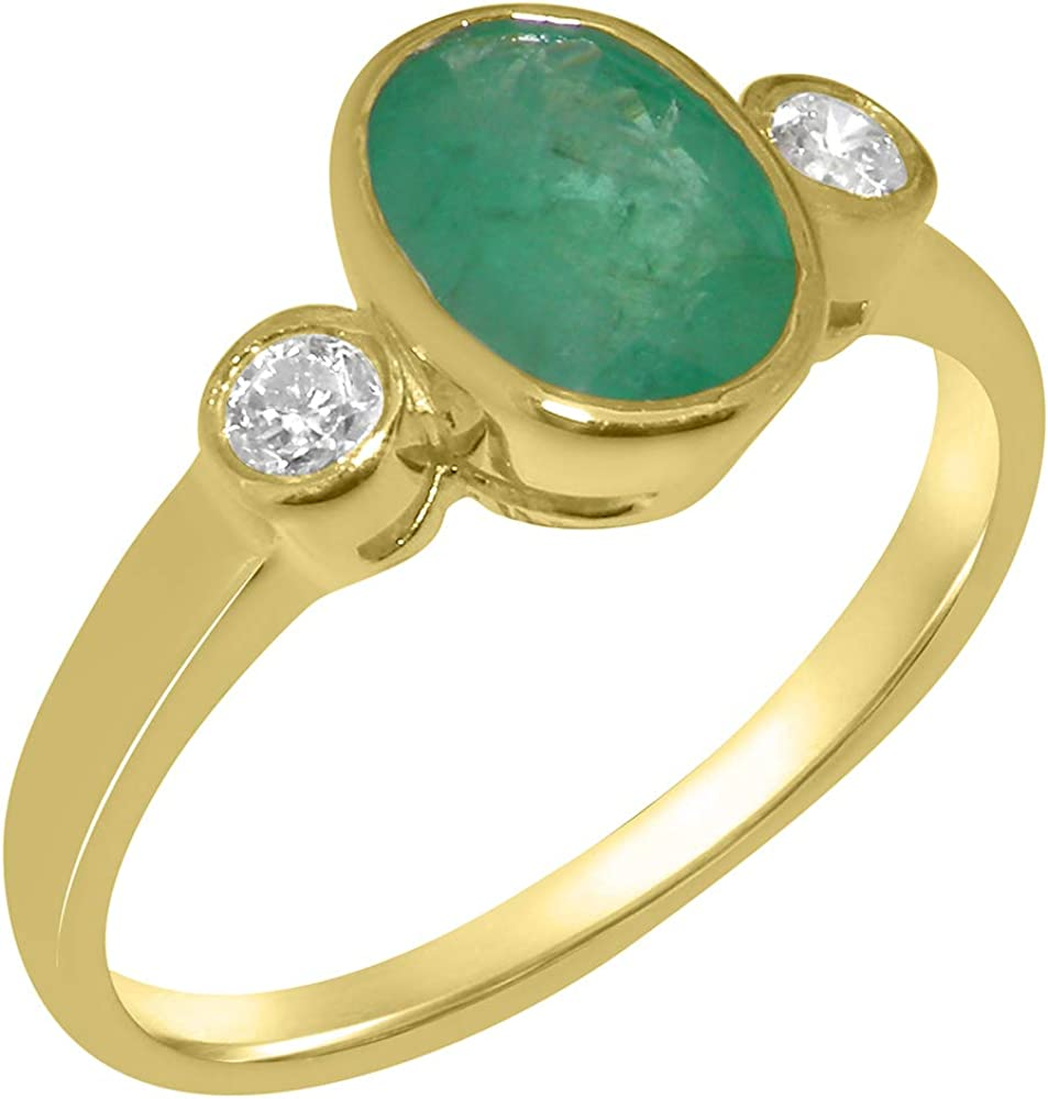 Solid 14k Yellow Gold Natural Emerald & Cubic Zirconia Womens Trilogy Ring - Sizes 4 to 12 Available