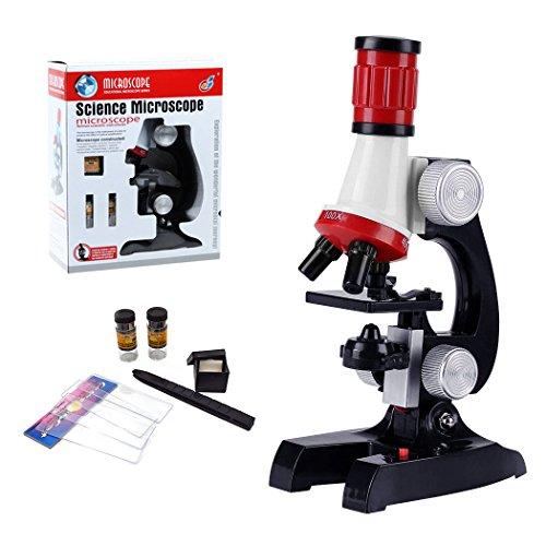 HONPHIER Microscopio Niños Microscopio Kit Scienza Microscopio Bambini 100x 400x 1200x Microscopio con LED Luci Kit de Microscopio para Estudiantes