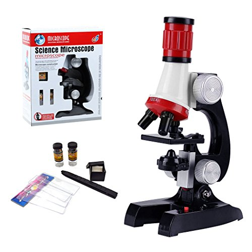 ALEENFOON Kids Microscope 100x 400x 1200x Magnification Microscope Set with LED Light Kids Educational Toys Birthday Present Scientific Exploration Microscopes Gift
